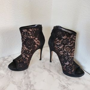 Via Spinga black lace peep-toe platform bootie